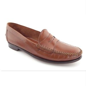 COLE HAAN Brown Leather Penny Loafers Men's 9